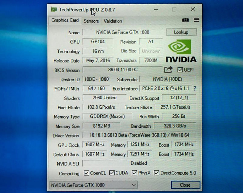 【GTX1080 GPUZ规格释出】NVIDIA GeForce GTX 1080 GPU-Z specifications leaked