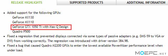 NVIDIA 正准备GTX 1050 Ti Max-Q版本